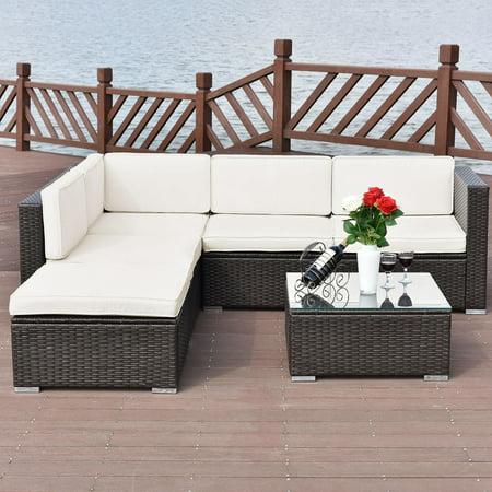 Costway 4 PCS Outdoor Patio Rattan Wicker Furniture Set Loveseat Cushioned Yard Garden ()