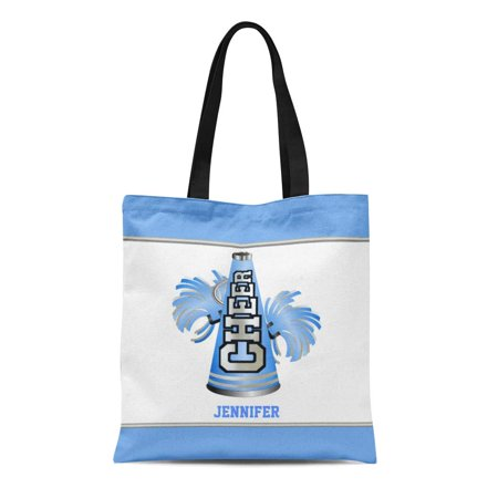 SIDONKU Canvas Tote Bag Idea Blue and Megaphone Cheerleader Sports Cheering Cheer Leader Reusable Handbag Shoulder Grocery Shopping - Cheer Megaphone Design Ideas
