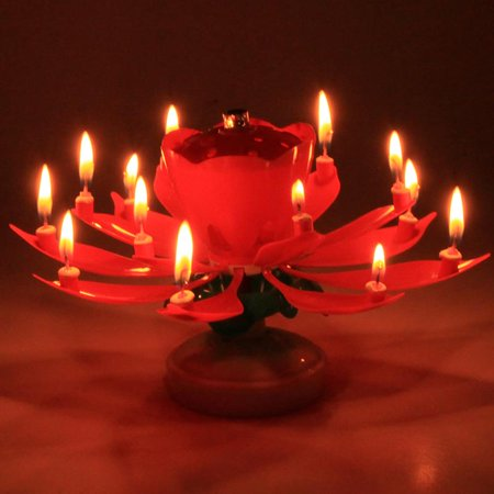GZYF 4PCS Amazing Birthday Flame Flower Lotus Music Candles Singing Rotatable Double Layers Candle Spin With 14 Small Red