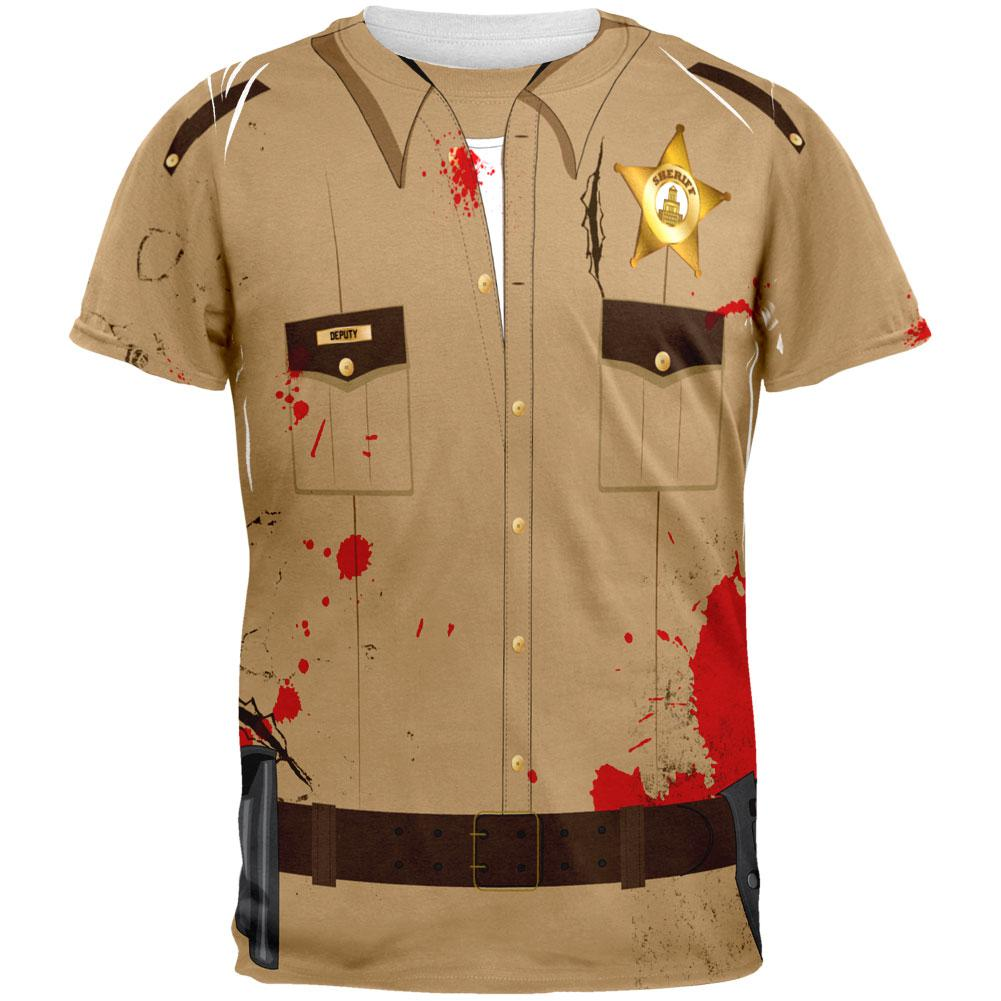 Halloween Zombie Grime Sheriff Walker Costume All Over Adult T-Shirt
