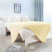 "Shaggy Faux Fur Decorative Twin Size Blanket 59x78"" Pale Yellow"