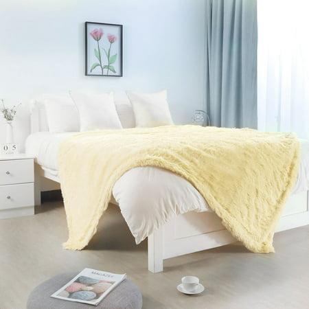 Shaggy Faux Fur Decorative Twin Size Blanket 59x78