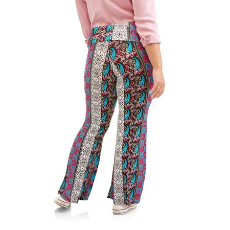 29001d543d4 Eye Candy - Juniors  Plus Size Printed Knit Flare Pants with Foldover ...