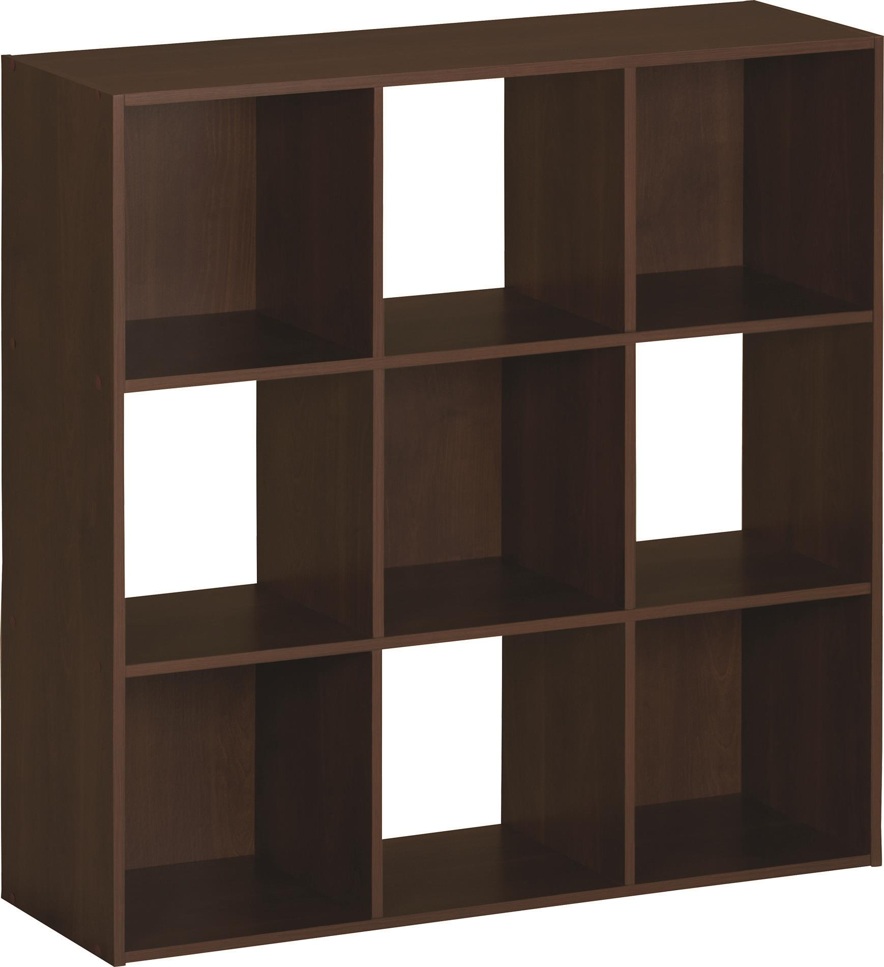 SystemBuild 9 Cube Storage Cubby Bookshelf Brown Oak & SystemBuild 9 Cube Storage Cubby Bookshelf Brown Oak - Walmart.com