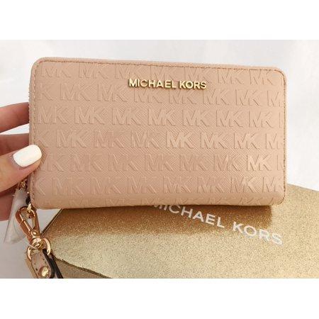 380583b6c8a8 Michael Kors - Michael Kors Zip Around Phone Wristlet Wallet Patent MK  Signature Oyster BOX - Walmart.com