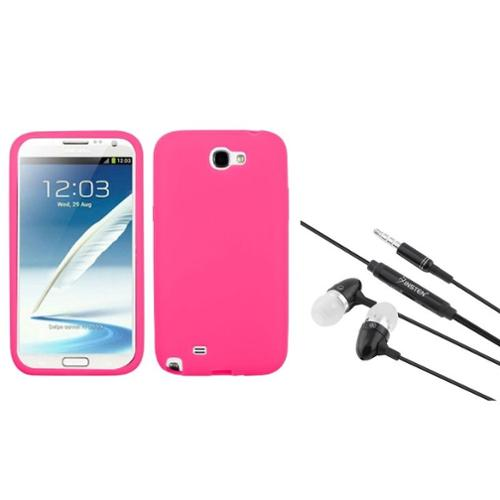 Insten Electric Pink Silicone Case+Black Headphone Headset For Samsung Galaxy Note 2 II