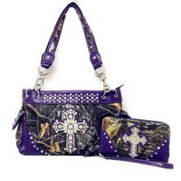 Premium Rhinestone Western Camouflage Cross Womens Shoulder Handbag Purse/Matching Wallet In Multi Colors