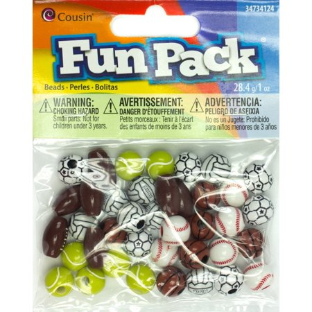Cousin Fun Pack Acrylic Sports Beads, 1 oz, Assorted (18 Ball Bead)