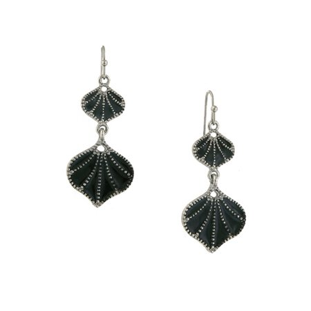 Silver Tone Jet Enamel Drop Earrings - 1928 Jet