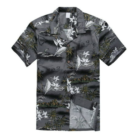 Young Adult Boy Hawaiian Aloha Luau Shirt Only in Gray Map and Surfer 12 Year Old (Cute 14 Year Old Boys)