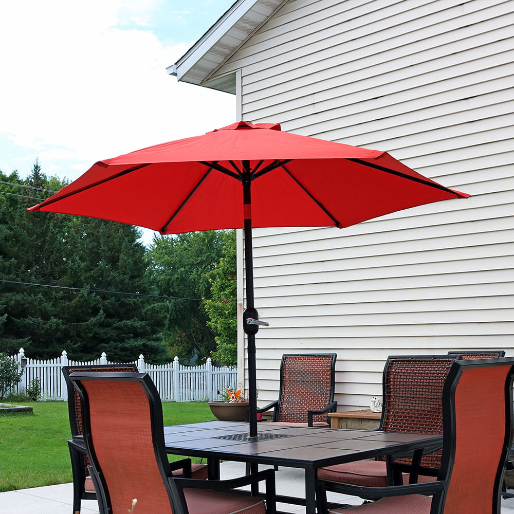 Sunnydaze 7.5 Foot Outdoor Aluminum Patio Umbrella with Tilt & Crank, Beige by Sunnydaze Decor