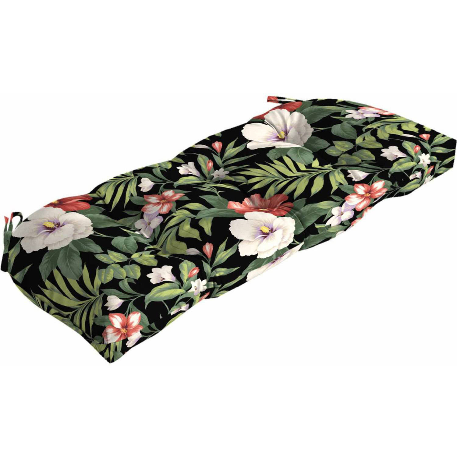 "Better Homes & Gardens Black Ground Tropical 41.5""W x 18""D Outdoor Patio Wicker Settee Cushion"
