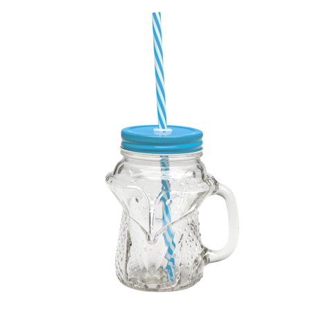 Fox Mason Jar Mugs - 16 Ounce Glass Cups with Handles, Lids and Straws - Set of - Disposable Plastic Mason Jar Cups