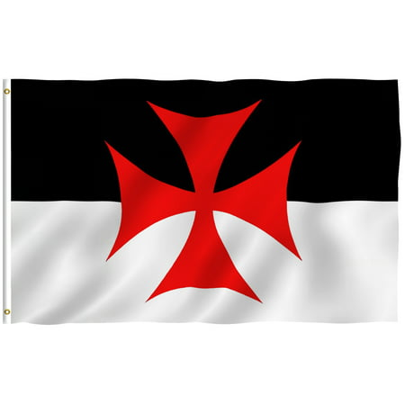 - ANLEY [Fly Breeze] 3x5 Feet Knights Templar Battle Flag - Vivid Color and UV Fade Resistant - Canvas Header and Brass Grommets - Roman Catholic Church Banner Flags