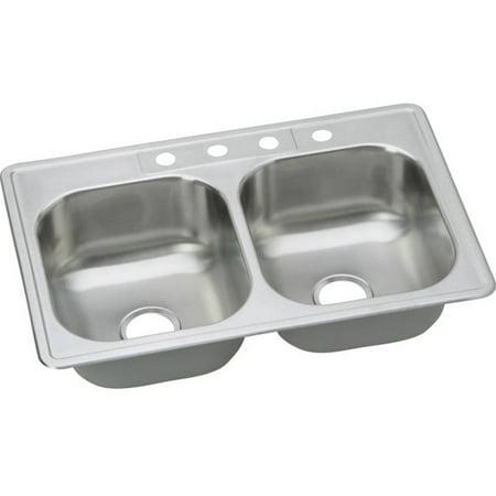 Elkay DSE233214 Dayton Elite Stainless Steel Double Bowl Top Mount Sink with 4 Faucet Holes, Elite Satin