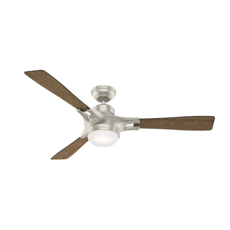54 Hunter Signal Matte Nickel Ceiling Fan With Led Light Kit And Integrated Remote Control
