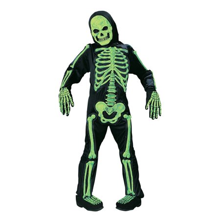 Fun World Scary Green Bones Skeleton Kids Halloween Costume - Medium (8-10) - Fun Family Themed Halloween Costumes