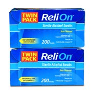 Relion Sterile Skin Cleansing Isopropyl Alcohol Swabs, 100 Ct, 2 Pk