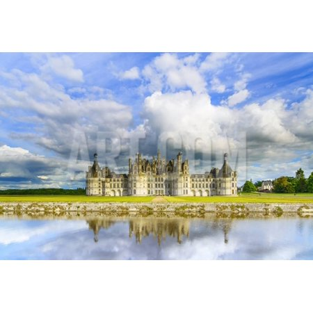 Chateau De Chambord, Unesco Medieval French Castle and Reflection. Loire, France Print Wall Art By stevanzz (French Reflections Art)