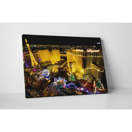 Las Vegas Strip Night Skyline Ii  Gallery Wrapped Canvas Wall Art Print  20  X 16