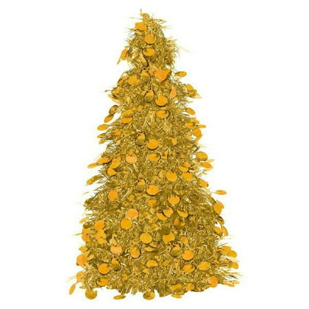 small gold amscan christmas tinsel table centerpiece tree