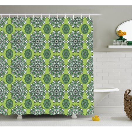 Lime Green Shower Curtain Arabesque Oriental Moroccan Mandala Middle Eastern Boho Retro Pattern Fabric