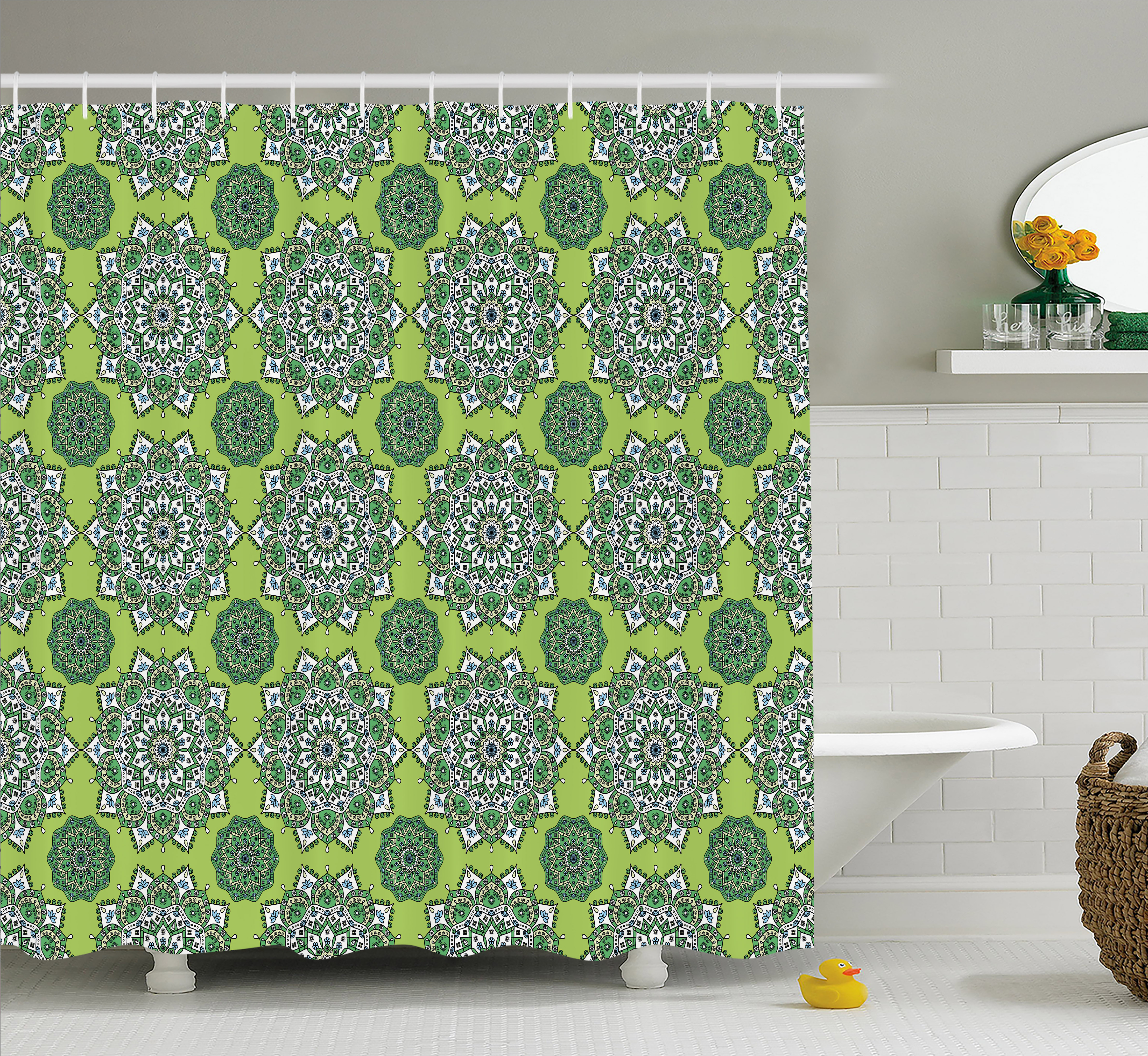 Lime Green Shower Curtain, Arabesque Oriental Moroccan Mandala Middle  Eastern Boho Retro Pattern, Fabric