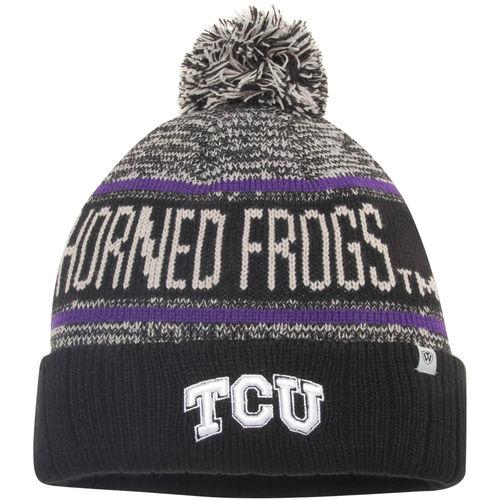 men's top of the world black tcu horned frogs acid rain cuffed pom knit hat