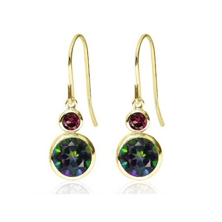 2.24 Ct Round Green Mystic Topaz Red Rhodolite Garnet 14K Yellow Gold Earrings