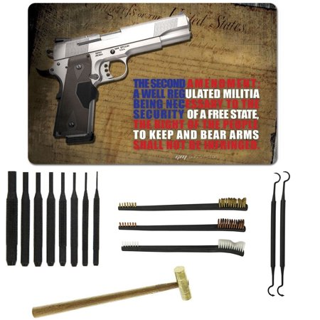Ultimate Arms Gear Gunsmith & Armorer's Cleaning Work Bench Gun Rifle Mat  2nd Amendment Right To Bear Arms with 1911 Pistol + 8pc Pin Punch Tool +