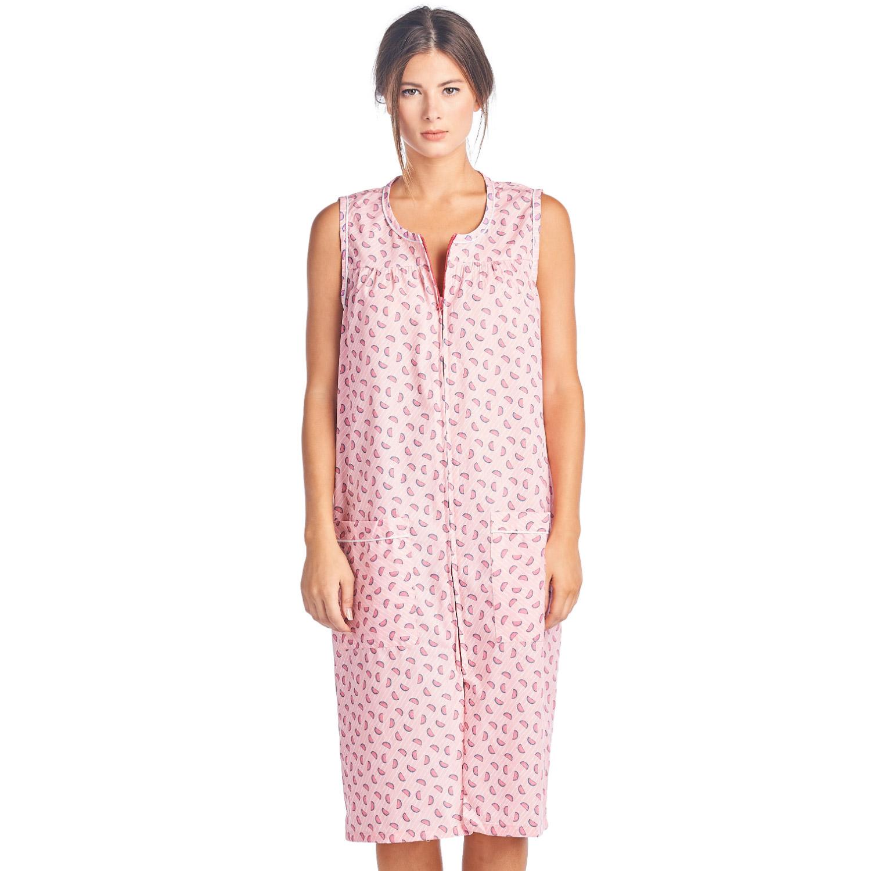 Casual Nights Women's Zip Up Sleeveless Duster Robe - Pin...