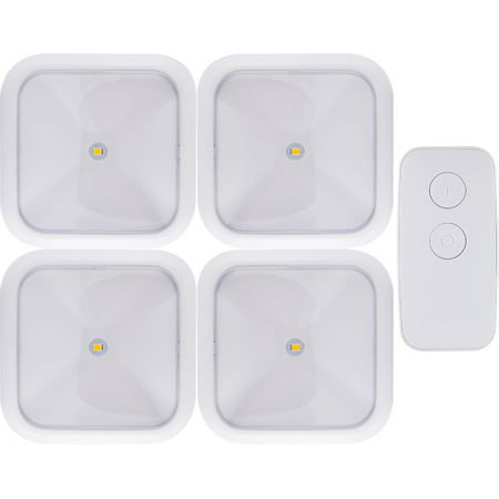 GE Wireless Remote LED Puck Lights, Battery Operated, Remote Controlled, 4-Pack - Led Batteries