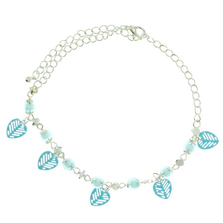 Mi Amore Ankle Bracelet With Light Blue Leaf Shaped Charms And Bead Accents Silver-Tone