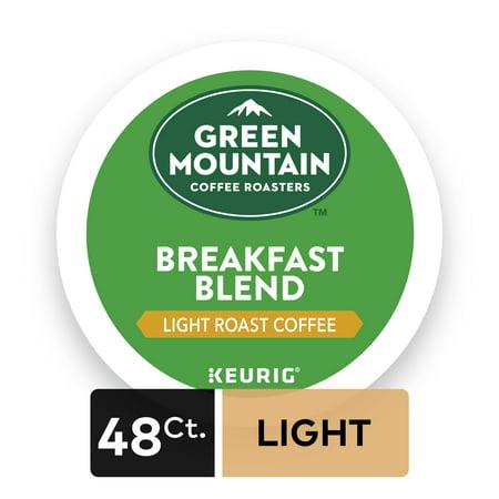 - Green Mountain Coffee Breakfast Blend, Keurig K-Cup Pods, Light Roast, 48 Count