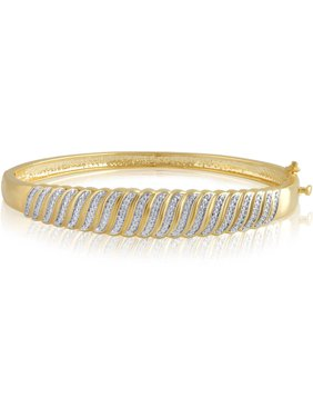 Diamond Accent Silvertone S Design Fashion Bangle