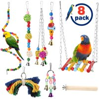 8 PCS Bird Parrot Swing Toys, Bird Playing Toy, Colorful Chewing Hanging Hammock Bell Climbing Ladders for Parrots, Love Birds, Cockatiel, Mynah, Parakeet, Conure