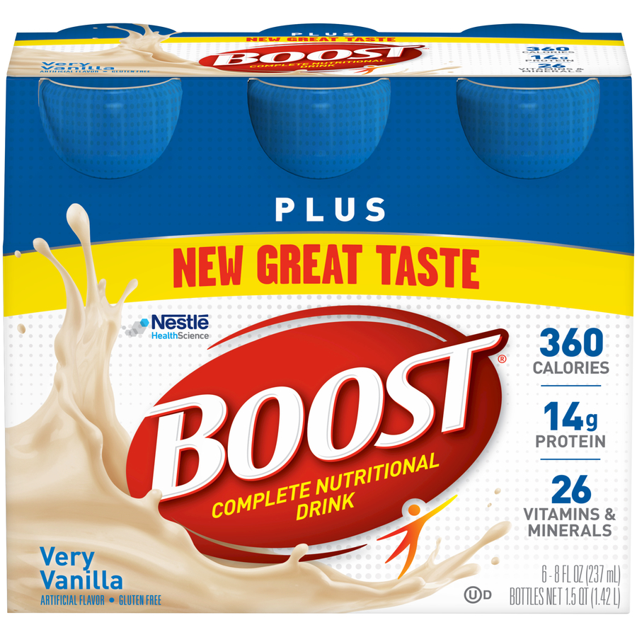 Boost Plus Complete Nutritional Drink, Very Vanilla, 8 fl oz Bottle, 6 Count