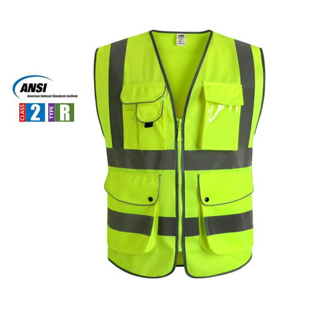 Multiple Pockets Class 2 High Visibility Zipper Front Safety Vest With Reflective Strips, Yellow Meets ANSI/ISEA Standards (Large) ()