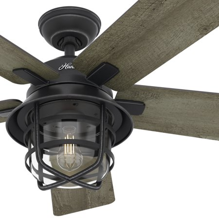 """Image of """"Hunter Fan 54"""""""" Weathered Zinc Outdoor Ceiling Fan with a Clear Glass LED Light Kit and Remote Control, 5 Blade (Certified Refurbished)"""""""