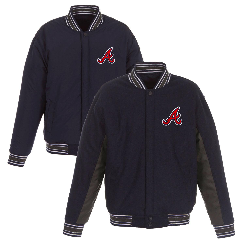 Atlanta Braves JH Design Wool Poly-Twill Accent Full Snap Jacket - Navy