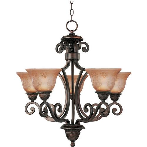 Symphony-Single-Tier Chandelier-Finish:Oil Rubbed Bronze,Shade:Screen Amber