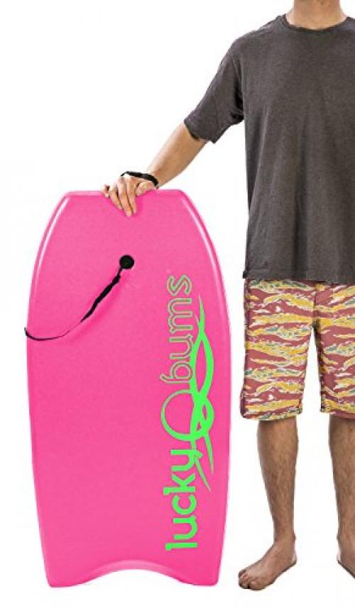 Lucky Bums Body Board with EPS Core, Slick Bottom, and Leash, Pink 37 Inches by Lucky Bums