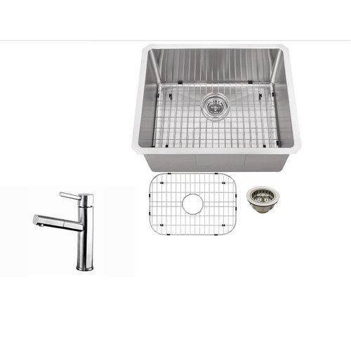 Soleil 23 X 19 Single Bowl Undermount Bar Sink With Faucet