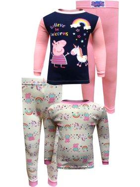 Peppa Pig Girls' Peppa Pig Believe in Unicorns 4 Piece Cotton Toddler Pajamas 2T