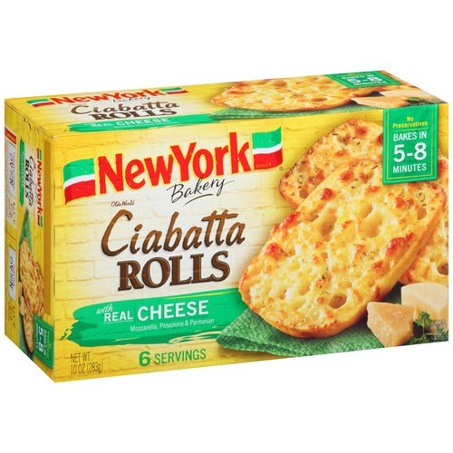 New York Brand Olde World Ciabatta Rolls with Real Cheese, 6 count, 10 oz