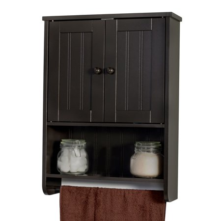 Wall Mount Espresso Bathroom Medicine Cabinet Storage Organizer with Towel