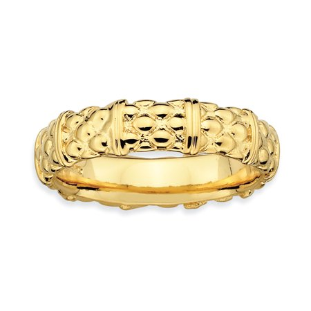 Sterling Silver Stackable Expressions Gold-plated Ring Size 6 - image 3 of 3