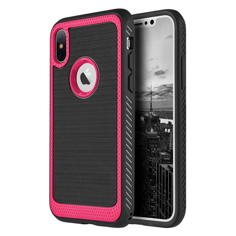 Apple iPhone X Case Rugged Flexible Extreme Tough Protection Durable Anti-Slip TPU Heavy Impact Shock Absorbent Case for Apple iPhone X - Red