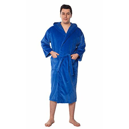 04906f9af8 Turquaz Linen - 100% Turkish Cotton Hooded Terry Velour Bathrobe Made in  Turkey (One Size