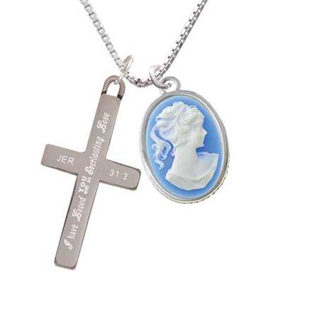 Silvertone Small Blue Oval Cameo - Everlasting Love - Cross